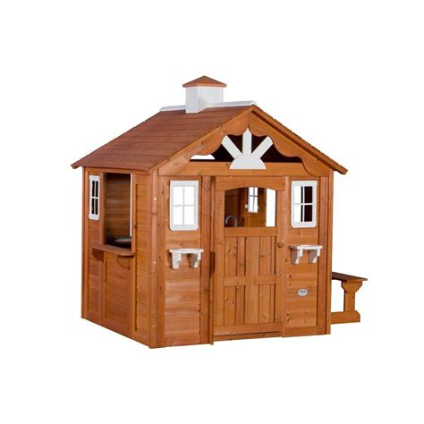 backyard cedar playhouse backyard discovery summer cottage all cedar playhouse