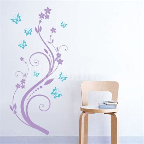 butterfly and flower wall stickers wall decals flower vine and butterflies wall stickers