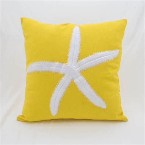 Yellow Starfish Pillow by Starfish Pillow Cover Sea Decor Yellow Linen Starfish