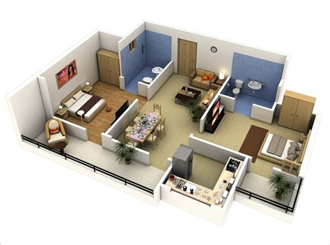 10 Awesome Two Bedroom Apartment 3d Floor Plans House Design Plan In 3d