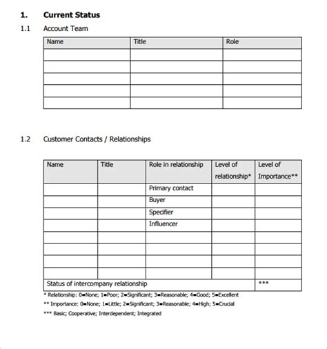 account planning template sle account plan template 9 free documents in pdf word
