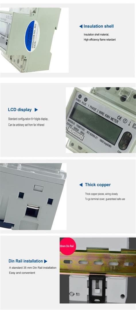 Kwh Meter 1phase 5 20 A Analog Merk Fuji rs485 modbus protocol din rail kwh meter single phase for solar systems yem011gc