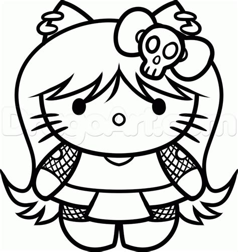 emo hello kitty coloring pages how to draw goth hello kitty step by step characters
