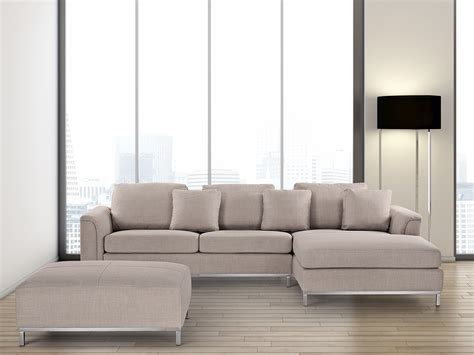 Corner Sectional Sofa Beige Upholstery Suite With Ottoman Corner Sectional Sofa L Shape Ebay