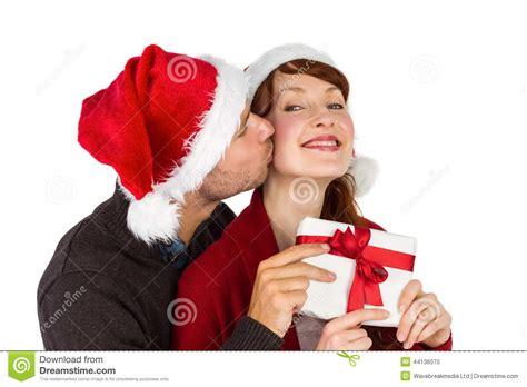couple gift wallpaper couple holding a christmas gift stock photo image 44136070