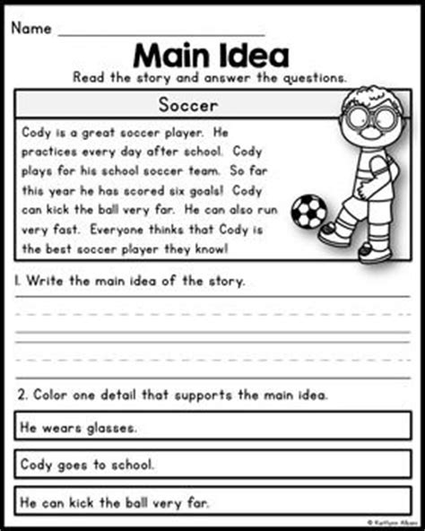 main idea multiple choice quiz worksheets education main idea practice worksheets 4th grade 5th grade