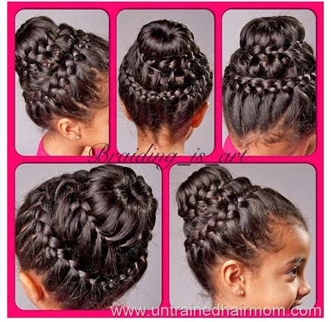 donut with a braid around it braid hairstyles for kids braid with donut bun