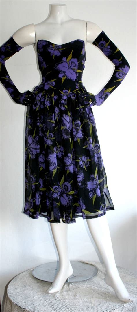 Bj Print Green Dress vintage betsey johnson label dress and gloves at 1stdibs