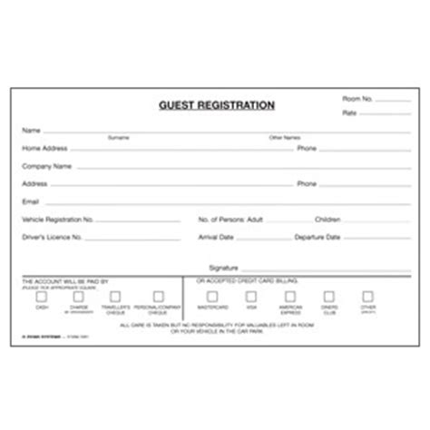 guest registration card template hotel reservation booking form sle forms front office