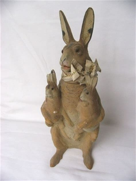 How To Make A Paper Mache Rabbit - vintage paper mache rabbit holding baby bunnies