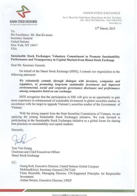 Commitment Letter Of Investment Hanoi Stock Exchange Sustainable Stock Exchanges