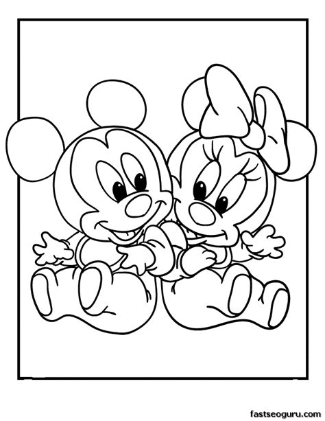 Printable Mickey And Minnie Disney Babies Coloring Pages Baby Disney Coloring Pages