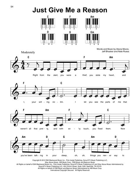 pink just give me a reason piano sheet music free easy just give me a reason feat nate ruess sheet music by