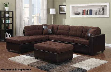 Brown Sectional Coaster Mallory 505655 Brown Fabric Sectional Sofa