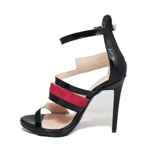 High Heel Patent Sandals high heel sandals in black patent leather made italy