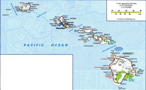 map of hawaii islands large road map of hawaii islands with all cities and villages vidiani maps of all