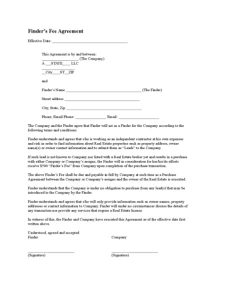 property finders fee agreement template finder fee agreement gtld world congress