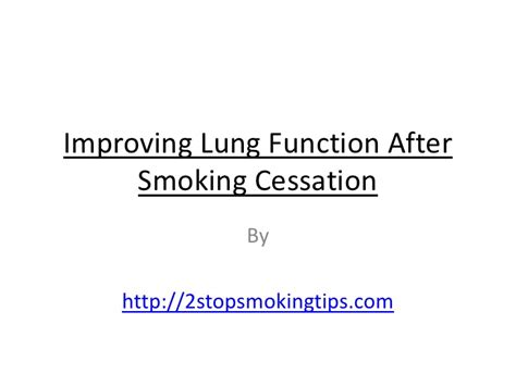 Detox After Cessation by Improving Lung Function After Cessation