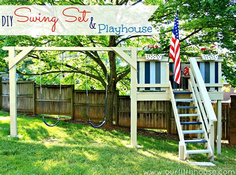 diy backyard swing set our fifth house diy swing set playhouse