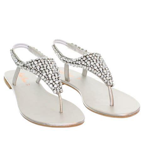 womens flat diamante sparkly toe post silver wedding