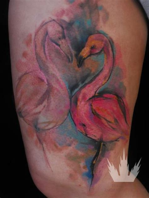 flamingo thigh tattoo by ondrash tattoo