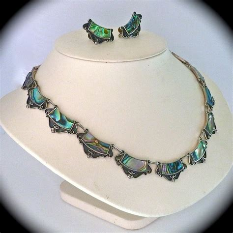 abalone jewelry mexican designer sterling abalone necklace earrings set