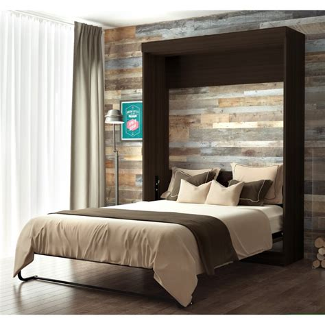 wall bed frame bestar edge queen wall bed in dark chocolate 70184 79