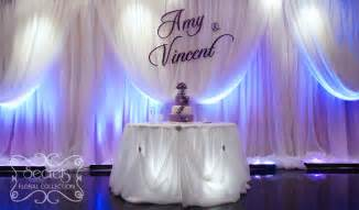 wedding backdrop name large purple name plate on voile backdrop secrets floral collection
