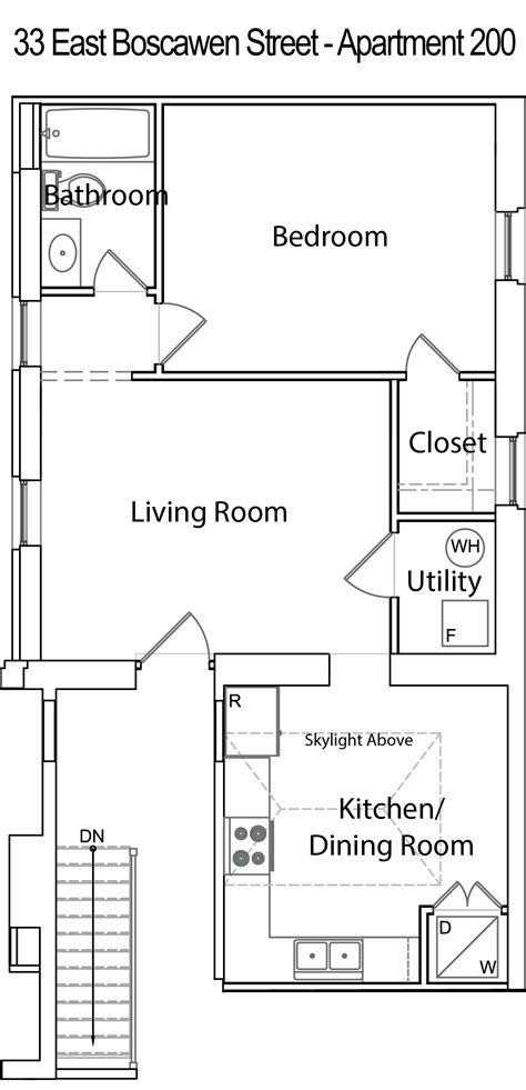 apartment floor plans with dimensions downtown apartment 33 e boscawen st 2nd floor