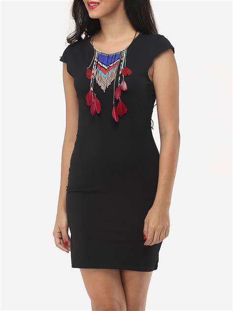 Plain Bodycon Dress plain neck bodycon dress black