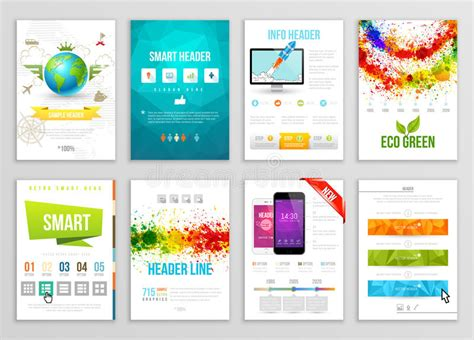 template of posters with business card slot set of flyer brochure background banner designs vector