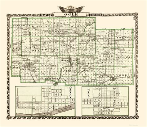 Ogle County Search County Maps Ogle County Illinois Il By Warner And Beers 1870