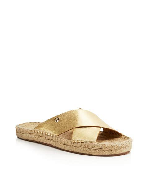 gold burch sandals burch bima metallic espadrille slide sandals in gold