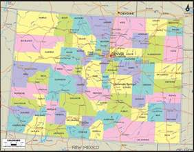 colorado state map with cities and counties political map of colorado ezilon maps
