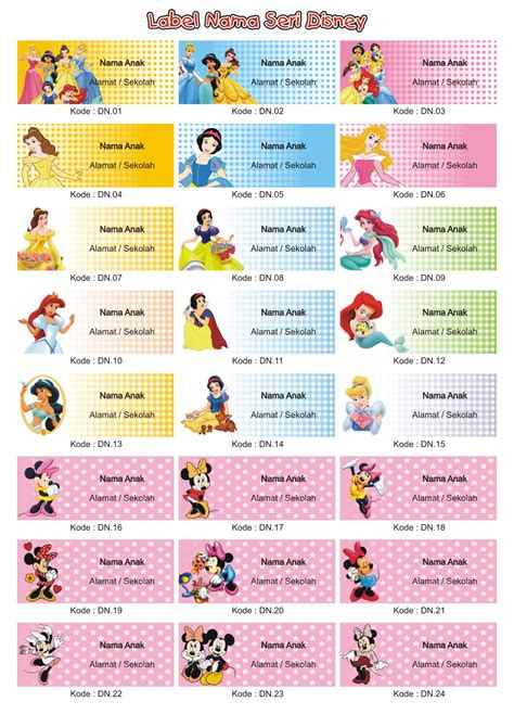 Sticker Label Foto Nama Seri Melody jual grosir label stiker nama anak seri disney 1