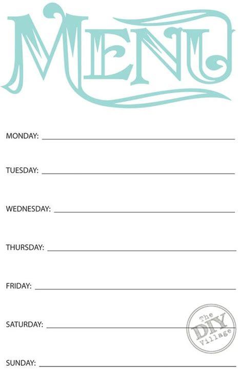 printable menu templates free printable weekly menu planner weekly meals menu