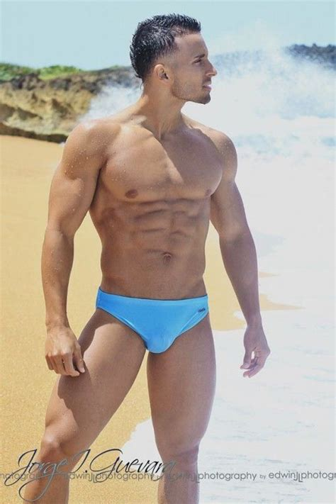 jorge i guevara in pale blue speedo abs pecs and arms