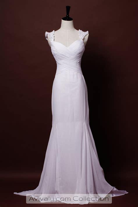 Average Wedding Aisle Length by Stella Ruffled Cap Sleeves Criss Cross Fishtail Skirt