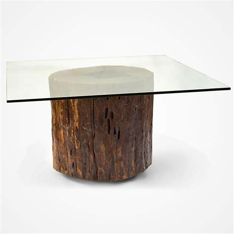 tree trunk l base itauba wood coffee table metal base rotsen furniture
