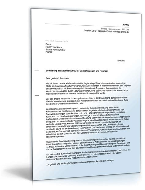 anschreiben bewerbung versicherungskaufmann muster zum