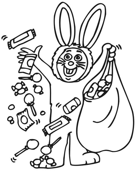 costume coloring page a kid in a bunny costume