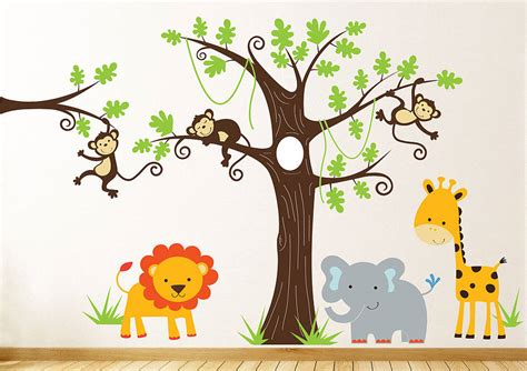 jungle stickers for walls childrens jungle wall sticker set by parkins interiors notonthehighstreet