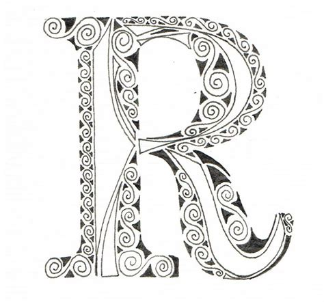 free printable zentangle letters ornate scrolled alphabet r jpg coloring pinterest