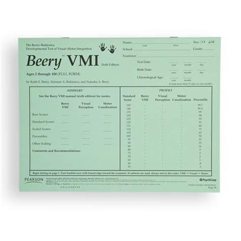beery vmi sle report beery vmi developmental test of visual motor