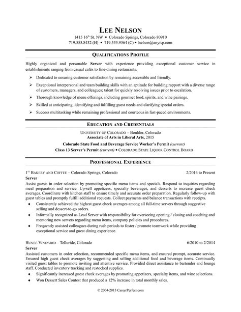 Server Resumes Exles by Restaurant Server Resume Sle