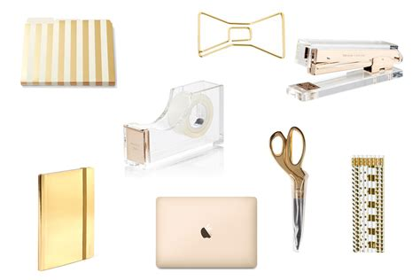 gold office supplies luxe