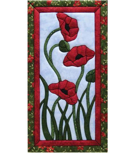 trio of poppies quilt magic kit 10 quot x19 quot jo