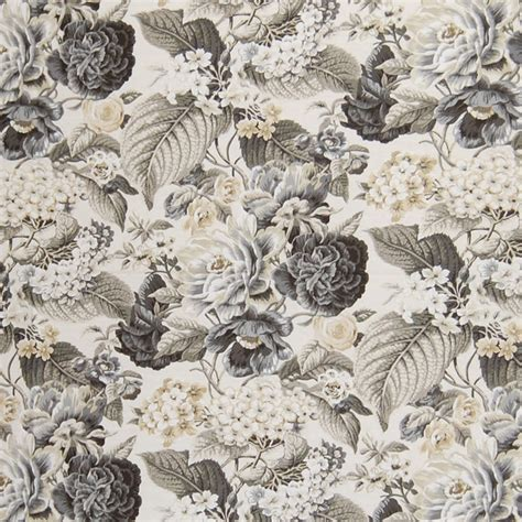 contemporary home decor fabric shale gray floral cotton print upholstery fabric
