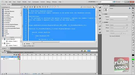tutorial for flash cs5 beginners flash cs5 tutorial animation code snippets youtube