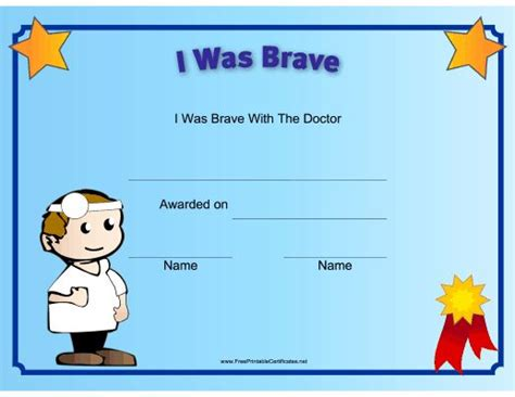 bravery certificate template this printable certificate recognizes a child s bravery at
